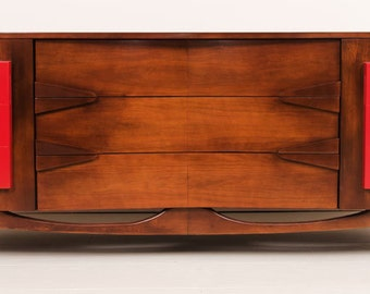 modern credenza furniture. midcentury modern credenza mahogany and bright red drawers mint condition furniture