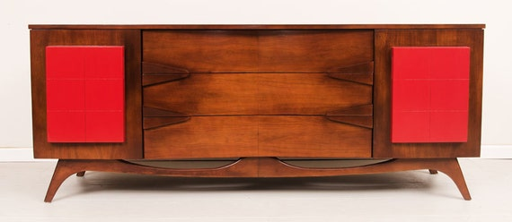 Mid-Century Modern Credenza Mahogany and bright red drawers Mint condition.