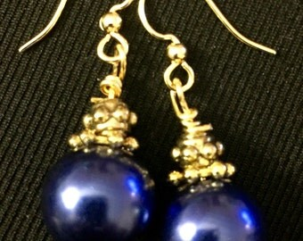 Cobalt blue and gold bead drop earrings