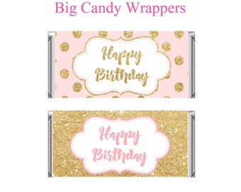 Printable Candy Bar Wrapper, Pink and gold Birthday, Pink and Gold favors, Pink and gold chocolate Wrapper, Digital File.