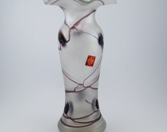 Freiherr von Poschinger Midcentury iridescent purple veins glass vase