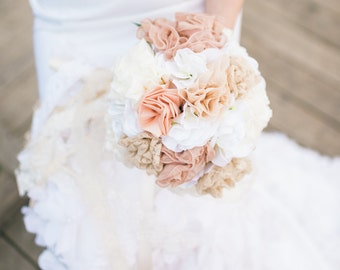 Vintage Inspired Handmade Fabric Wedding Bouquet