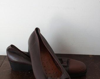 vintage maroon leather ballet flats 8.5