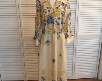1970s cotton tab yellow blue floral day dress