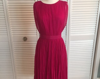 1950s magenta hot pink silk chiffon dress