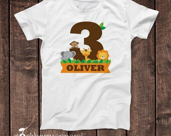 3 year old Birthday Shirts - Jungle Birthday Shirt - Personalized Girl Birthday Shirts - Jungle Animals Birthday - Giraffe Birthday Shirt