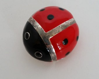 Vintage Brooch, Ladybug Red and Black Enamel and Silver Tone