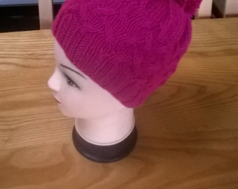 Hand Knitted Aran Style Cable Hat