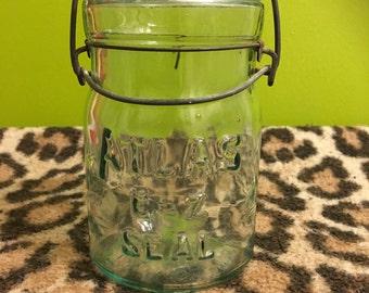 Vintage Atlas E-Z Seal Mason Jar, Canning Jar, Vase