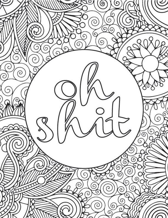 Printable Adult Coloring Book Page OH SHIT