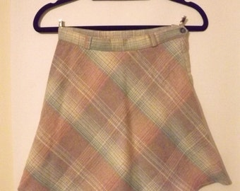 90s Pale Blue And Pink Tartan Skirt