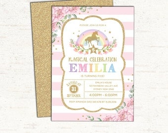 Unicorn Birthday Invitation. Rainbow Unicorn Party Invitation. First Birthday. Pink and Gold Rainbow Invite. Floral Invitation. Girls. UNI1