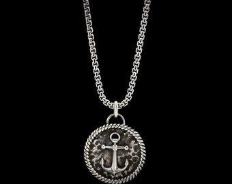 Anchor Medal Necklace Sterling Silver Sailor Pendant