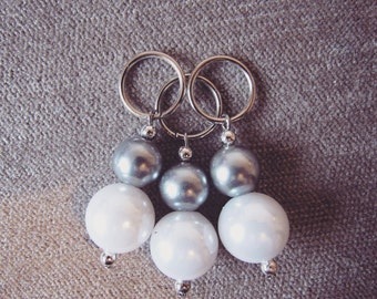 White and Grey Pearl 12mm Stitch Markers (Sets of 3)