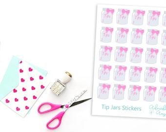 Tip Jars Planner Stickers for Erin Condren, Plum Planner, Inkwell Press, Filofax, Kikki K or Any Size Planners