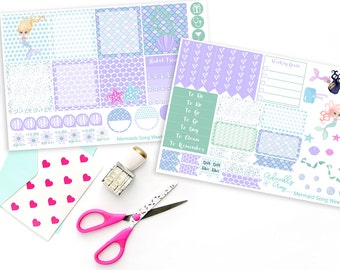 Horizontal Mermaids Song Weekly Planner Sticker Kit for Erin Condren, Plum Planner, Inkwell Press or Filofax Planners