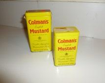Vintage Colman's English Mustard Tins Yellow Box