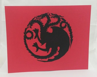 """Targaryen Game of Thrones Inspired Cut Paper Silhouette Portrait 8"""" x 10"""" Cut Out Art Portraits"""