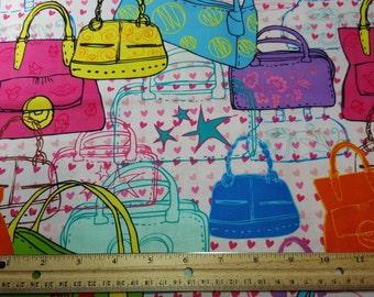 Fashion Handbags, Yardage or Fat Quarters, FQ, FBTY, Purses Fabric, Quilting, Fabric with Purses, Fun Bright, Craft Fabric, Pocketbook, Pink