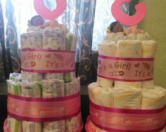 It's a girl 2 tier diaper cake