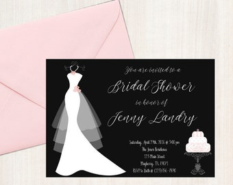 Bridal shower invitation 5x7 digital download for self printing