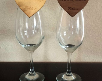 Place Cards /Wedding Place Cards /Engraved Wood Place Cards Heart Shaped with Clip on the Back