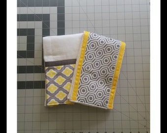 2 Pack- Gender Neutral baby burp cloths, yellow and grey, ribbon trim, baby shower gift