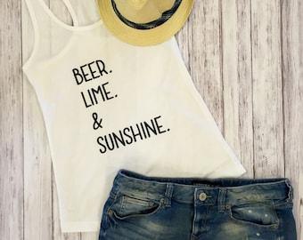 Beer lime & sunshine tank, beer, sunshine, summer, tank top, womens tank top, summer time, lake, beach, sun, tanks