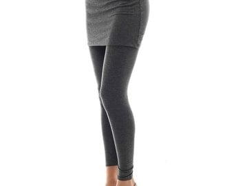 Women's Skirted Leggings - Charcoal - Short Leg Version - S/M/L/XL , 1XL/ 2XL /3XL