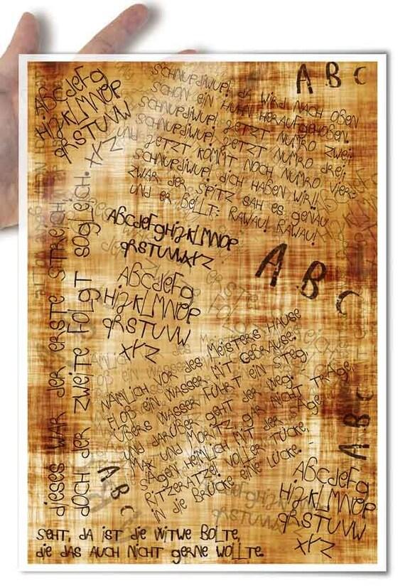 Decoupage Paper • child handwriting ABC vintage background • for mod podge decopatch scrapbooking