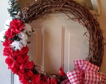 Red Roses Grapevine Wreath