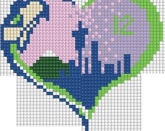 Seattle Seahawks 12th Man Love City Scape Perler Bead Sprite Pixel Pattern Instant Digital Download