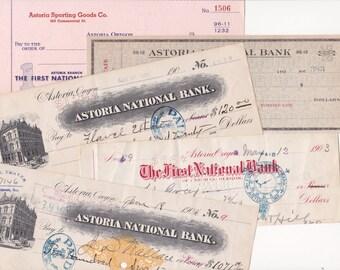 Vintage Checks Lot 5 From 1903 to 1970s Astoria National Bank Oregon Paper Ephemera Scrapbooking Craft Art Supplies Old Penmanship Writing