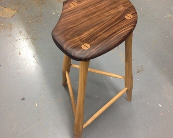 Tall Stool Made from Walnut & Ash