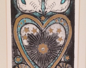 Sacred heart (handpainted collagraph print)