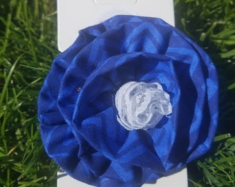 Blue and White Fabric Flower