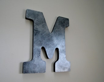 """Brushed Silver 9"""" Hand-Painted Wall Letters"""