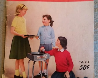 1955 Bear Brand Hand Knits for Young America - Knitting instructional magazine