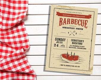 BBQ Birthday Invitation, BBQ Birthday Party, BBQ Birthday Invitations, bbq birthday, bbq invitations, bbq invitation, bbq invites, bbq