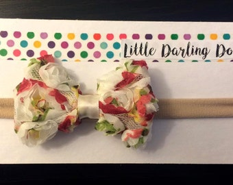 Floral rosette nylon headband