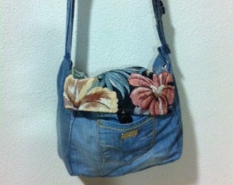 Handmade denim shoulder bag / handmade Texas shoulder bag