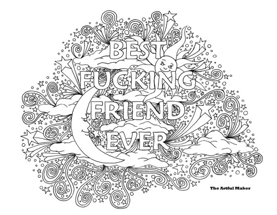 BFF Best Fucking Friend Ever Adult Coloring Page By The