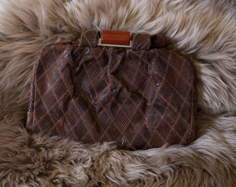 Vintage Brown Reptile Leather Handbag with Lucite Clasp