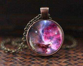 Nebula Necklace, Galaxy Pendant, Galaxy Necklace, Universe Jewelry, Violet Space Necklace, men's Necklace
