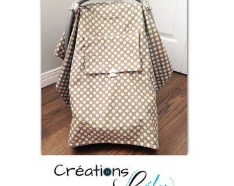 Carseat canopy, carseat cover for baby grey with blue dots