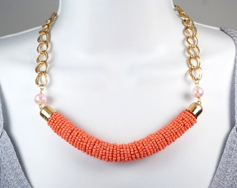 Gold Bib Necklace Beaded Rope Necklace Pink Pearl Necklace Fashion Trendy Jewelry Girlfriend Gift Coral Pink Orange Seed Bead Bar Necklace