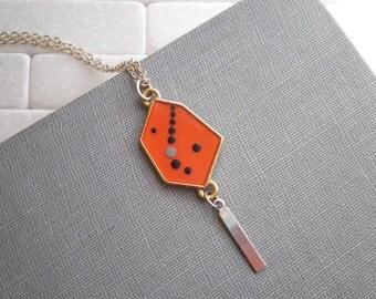 Modern Dot Art Charm Necklace - Bohemian Outer Space Necklace - Enamel Galaxy Geometric Necklace - Tiny Art Cosmic Pendant Boho Jewelry Gift