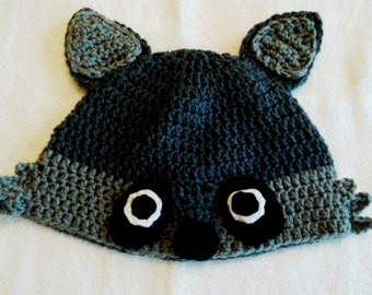 Handmade crochet raccoon hat