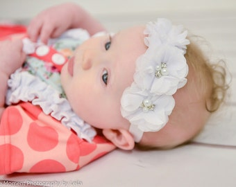 White flowers newborn headband, infant headband, baby headband, newborn photo prop, headband, toddler headband, vintage headband