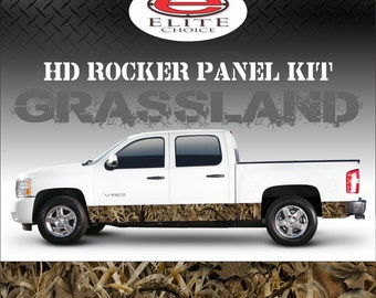 "Grassland Camo Rocker Panel Graphic Decal Wrap Truck SUV - 12"" x 24FT"